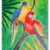 Zasłuchane Papużki - Obra<br />zek  ::  Zasłuchane papużki dla C<br />iebie :)   Obrazek płótno<br /> na desce roz.A4, akryl